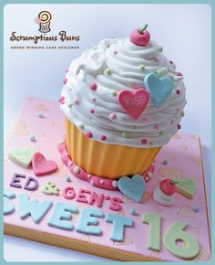 Sweet 16 Giant Cupcake by Scrumptious Buns (Samantha), via Flickr,  An amazing cake lady in Norfolk England!
