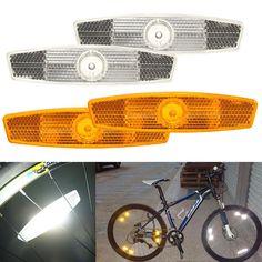 1 쌍의 자전거 자전거 휠 안전 리플렉터 반사 마운트 클립 경고