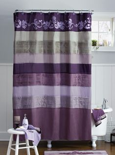 Incroyable Purple Set Shower Curtain Fabric Polyester With 3 X Bathroom Towels