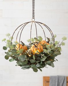 Christmas Hanging Baskets, Hanging Flower Baskets, Hanging Plants Outdoor, Pumpkin Arrangements, Balsam Hill, Wreaths And Garlands, Autumn Wreaths, Fall Planters, Pumpkin Wreath