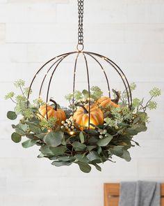 Thanksgiving Decorations, Halloween Decorations, Pumpkin Arrangements, Balsam Hill, Wreaths And Garlands, Autumn Decorating, Basket Decoration, Autumn Wreaths, Arte Floral