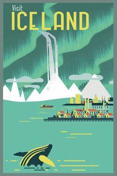 Resultado de imagen para travel poster vintage iceland