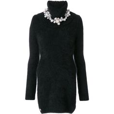 Philipp Plein Kiss High sweater dress (17 405 ZAR) ❤ liked on Polyvore featuring dresses, black, turtleneck sweater dresses, short dresses, embelished dress, long sleeve turtleneck top and embellished dresses