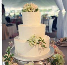 Simple white cake with simple decor. Greenery.  Flower Dress #2dayslook #jamesfaith712 #FlowerDress  www.2dayslook.com