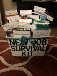 Funny new job survival kitYou can find Going away gifts and more on our website.Funny new job survival kit Gift For Coworker Leaving, Goodbye Gifts For Coworkers, Farewell Gift For Coworker, Leaving Gifts, Farewell Gifts, Leaving Party, Leaving Work, New Job Survival Kit, Survival Kit Gifts
