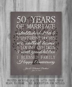 Anniversary Gift for Parents Keepsake 50 Year Anniversary Gift Personalized with Life Story Marriage Art Modern Vintage Brown Print Golden Anniversary Gifts, Anniversary Gifts For Parents, 50th Wedding Anniversary, Anniversary Parties, Happy Anniversary, Anniversary Ideas, Christmas Gifts For Mom, Important Dates, Parent Gifts