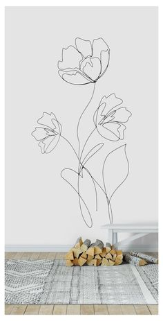 Simple Wall Paintings, Wall Painting Decor, Mural Wall Art, Line Art Flowers, Easy Flower Painting, Simple Flowers, Elegant Flowers, Diy Flowers, Flower Mural