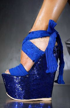 Gianmarco Lorenzi Blue Ribbon Wedges.....,..love but a broken ankle ready to happen.