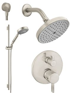 """View the Hansgrohe HG-T201 S Thermostatic Shower System with Volume Control & Diverter Trim, 24"""" Wall Bar, Shower Arm, Shower Head and Multi Function Hand Shower, Less Valve at Build.com. 676.53 for master bath"""