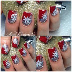 Photo taken by Nail Designs By Sarah - Cute Christmas Nails, Xmas Nails, Holiday Nails, Merry Christmas, Purple Nails, Bling Nails, Red Nails, Gel Nail Designs, Beautiful Nail Designs