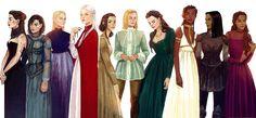 Women from Throne of Glass (Left to Right): Kaltain, Sorrel, Asterin, Manon, Elide, Aelin, Lysandra, Nehemia, Nesryn, Sorscha #ToG