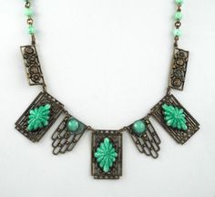 1930s Lovely Art Deco Vintage Green Jade Peking Glass Gilt Necklace | eBay