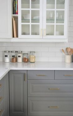 White And Grey Kitchen Ideas Grey And White Subway Tile Grey Subway Tile Kitchen Gray Kitchen White Subway Tile Backsplash, Subway Tile Kitchen, Grey Kitchen Cabinets, Kitchen Cabinet Colors, Kitchen Redo, New Kitchen, Backsplash Ideas, White Cabinets, Backsplash Design