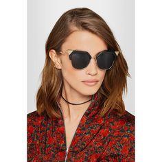 Fendi Iridia cat-eye gold-tone and acetate sunglasses (1,300 PEN) via Polyvore featuring accessories, eyewear, sunglasses, black, acetate glasses, acetate sunglasses, gold colored glasses, cat eye sunglasses y polka dot glasses