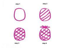 Pineapple 4 steps drawing