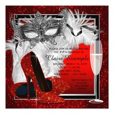 Masquerade Party Invitations Womans Red and Black Masquerade Birthday Party Card Masquerade Party Invitations, 60th Birthday Invitations, Masquerade Theme, Masquerade Ball, Red Birthday Party, 50th Birthday, Birthday Ideas, 50th Party, 21 Party