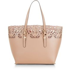 Pink Laser Cut Out Shopper Bag (2.775 RUB) ❤ liked on Polyvore