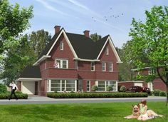 Mooie 2-kapper in jaren 30 stijl Dutch Netherlands, Building A House, 3 D, Villa, New Homes, House Design, Cabin, Architecture, House Styles