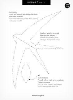 Móvil de Golondrinas / Mòbil d'Orenetes / Swallow Mobile #DIY #swallow #paper #BruDiy #baby #home #kids #craft #templates #plantillas