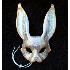 Venetian Rabbit Mask V4 handmade leather rabbit mask ($165) ❤ liked on Polyvore featuring costumes, leather costume, rabbit costume, fancy halloween costumes and rabbit halloween costume