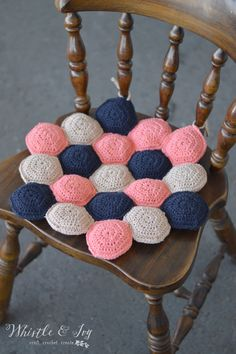 Hexie Puff Seat Cushion - Crochet this cute seat cushion for a comfortable and relaxing addition to your kitchen chairs.