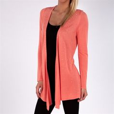 Belldini Long Fine Knit Cardigan with Sparkle Studs