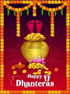 Illustration about Vector illustration of Gold Kalash with decorated diya for Happy Dhanteras Diwali festival holiday celebration of India greeting background. Illustration of greeting, diya, holiday - 129712945 Happy Diwali Status, Happy Diwali Wishes Images, Diwali Wishes Quotes, Happy Diwali Quotes, Diwali Greetings, Navratri Wishes, Happy Navratri, Choti Diwali Image, Dhanteras Images