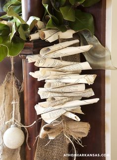 Magnolia, book page & burlap garland Book Page Garland, Book Wreath, Christmas Crafts, Christmas Decorations, Holiday Decorating, Christmas Holiday, Christmas Ideas, Xmas, Burlap Garland