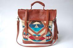 Love the design of Pendleton fabrics!  leather and Pendleton tote-  'The Coastal Tote Bag'. $260.00, via Etsy.