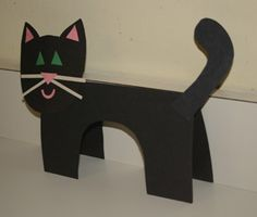 paper cat craft ~ will try with construction paper. ~ Love that the belly cut out will be enough for head.. saving on paper!!