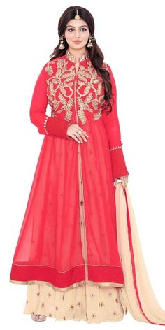Beauty Red And Cream Georgette Salwar Suit.