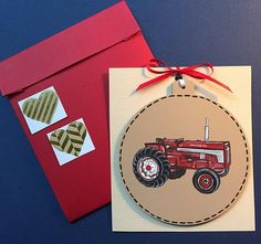 Red Tractor Ornament, Free Personalization, Personalized Tractor Gift, Tractor Ornament, Hand Painted Tractor, Tractor Painted on Wood, Farm