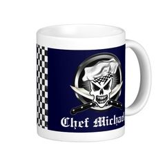 Add your name to personalize this cool Winking Skull Chef's coffee mug. Customization tool allows you to change the background color to one of your choice, & the Font can also be changed. Available in different styles, including travel mugs. An excellent gift for the chef, sous chef, pastry chef, home cook, line cook, or anyone with a passion for cooking! Visit www.zazzle.com/... to see more cool culinary themed skulls.