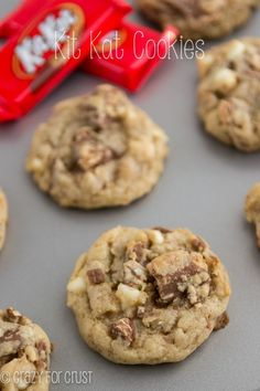 Kit Kat Cookies chocolate chip cookie recipe filled with chopped Kit Kats and white chocolate! Best Chocolate Chip Cookies Recipe, Chip Cookie Recipe, Yummy Cookies, Cookie Recipes, Dessert Recipes, Kit Kat Recipes, Chocolate Cookies, Butterscotch Cookies, Chocolate Chips