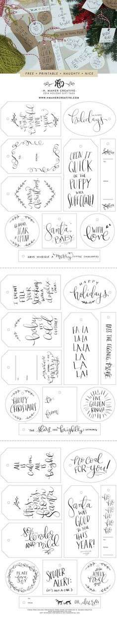 Naughty + Nice // 30 Free printable Holiday Gift Tags Naughty + Nice // 30 Free Hand-Lettered Holiday Gift Tag Printables from H. Maher Creative (www. Holiday Gift Tags, Christmas Gift Wrapping, Noel Christmas, Christmas Crafts, Xmas, Funny Christmas, Handmade Christmas, Vintage Christmas, Theme Noel