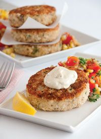 Dijon tuna cakes and roasted corn relish with easy remoulade *best of summer with Sandra lee*