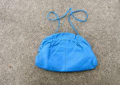 Vintage Purse Leather Clutch Medium Size Purse Azul Blue Bag Long Strap Purse 1980 Bag 80s Purse 1990 Handbag Designer Bright BlueHandbags