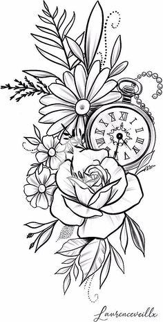 rose daisy flower clock tattoo design Tattoo Design - Laurenceveillx - rose daisy flower clock tattoo design Tattoo Design – Laurenceveillx You are in the right place ab - Pencil Art Drawings, Art Drawings Sketches, Tattoo Sketches, Sketch Tattoo Design, Flower Sketches, Clock Tattoo Design, Floral Tattoo Design, Flower Tattoo Designs, Arrow Tattoo Design