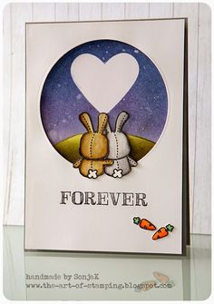 "Karte zum Hochzeitstag | anniversary card - Mama Elephant ""Honny Bunny"", Distress Inks, Tombow Markers, Farbverlauf / Ombre"