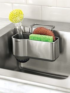Keep your kitchen sink tidy with this handy caddy | Solutions.com #Kitchen #Organization #SinkCaddy