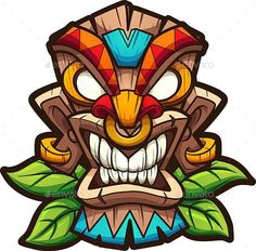 Buy Tiki Mask by memoangeles on GraphicRiver. Cartoon colorful tiki mask with leaves. Vector clip art illustration with simple gradients. All in a single layer. Graffiti Art, Graffiti Drawing, Art Drawings, Art And Illustration, Tiki Tattoo, Totem Tattoo, Cartoon Kunst, Cartoon Art, Arte Do Hulk