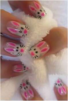So cute for Easter! Adorable bunny nails