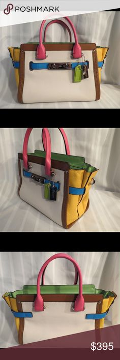 """COACH Swagger 27 Carryall Rainbow Colorblock COACH Swagger 27 Carryall Rainbow Colorblock Leather    STYLE NO. 37693  All of my items are Guaranteed 100% Genuine I do not sell FAKES of any kind  This is MINT with one little exception the little snap that is on the top which is something that really is worthless and unnecessary pulled off one side. Doesn't effect nor I don't think anyone would ever use it honestly,.  W 11"""" X H 8"""" X  D 6""""  Arm Strap, NO shoulder strap  No Trades (S082) Coach…"""