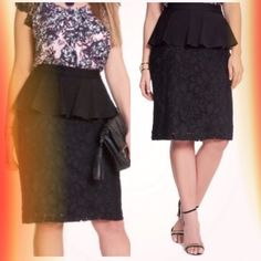 """HOST PICK 9.2LACE PEPLUM PENCIL SKIRT Flirty and feminine, this classic skirt will be your ultimate date night staple. A solid ponte peplum at the waist accents a black pencil shape with a floral lace overlay. This skirt can go from work to dinner with a simple top. Skirt length: 27"""", model is 5'11"""".                                                                      Shell: 80% rayon, 15% polyamide, 5% spandex         Lining: 95% polyester, 5% spandex                                 Dry…"""