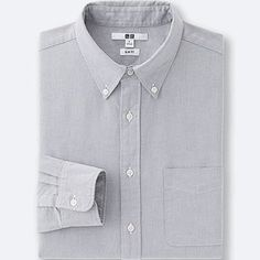 MEN OXFORD SLIM-FIT LONG-SLEEVE SHIRT, GRAY