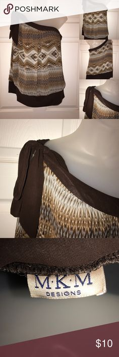 one shoulder top very cute chevron detail on shirt, worn once, 100% polyester, FINAL PRICE MKM Tops