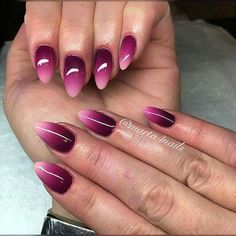 Beautiful Ombre Nail Designs You Can Rock This Weekend - Hairstyles - Nails - Nagel Magenta Nails, Gradient Nails, Toe Nails, Acrylic Nails, Violet Nails, Ombre Nail Designs, Nail Art Designs, Nail Art Vernis, Matte White Nails