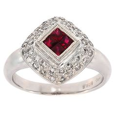 0.90 Cttw G VS Round Diamonds and Princess Ruby Cocktail Ring in 14K White Gold by GetDiamondsDirect on Etsy