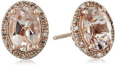 14k Rose Gold Morganite with Diamond Framed Stud Earrings (1/10cttw, I-J Color, I2-I3 Clarity) >>> Details can be found by clicking on the image. (This is an affiliate link) #JewelryForWomen