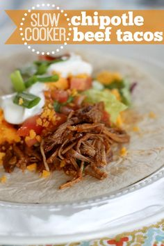 Slow Cooker Chipotle Beef Tacos - easy way to cook dinner on a busy night!